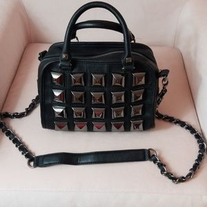 Betsy Johnson Black Spiked Crossbody Shoulder Bag